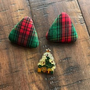 Christmas Earrings and Pin